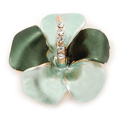 Mint Green/ Dark Green Enamel, Crystal Flower Brooch In Gold Plating - 30mm Across - main view
