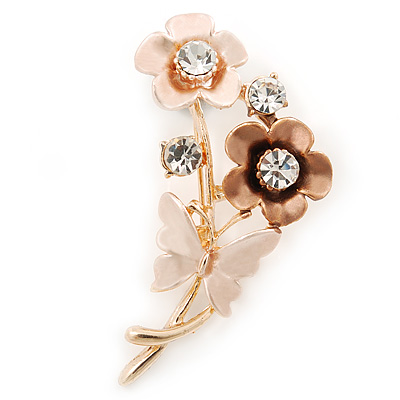 Magnolia/ Bronze Enamel, Crystal Flowers and Butterfly Brooch In Gold Tone - 50mm L - main view