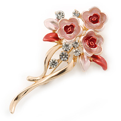 Pink/ Coral Enamel, Crystal Triple Flower Brooch In Gold Tone - 55mm L