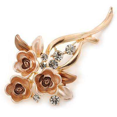 Magnolia/ Bronze Enamel, Crystal Triple Flower Brooch In Gold Tone - 55mm L