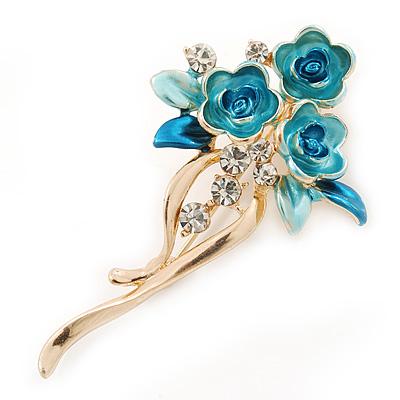 Teal/ Light Blue Enamel, Crystal Triple Flower Brooch In Gold Tone - 55mm L