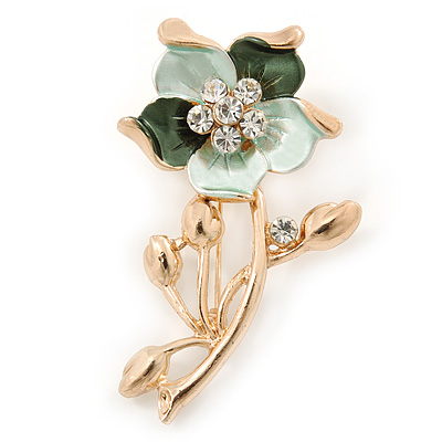 Mint/ Dark Green Enamel, Crystal Daisy Brooch In Gold Plating - 50mm L