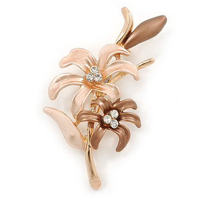 Magnolia/ Bronze Enamel, Crystal Double Flower Brooch In Gold Plating - 62mm L - main view