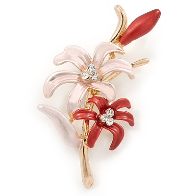 Pink/ Coral Enamel, Crystal Double Flower Brooch In Gold Plating - 62mm L - main view