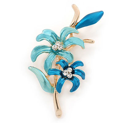 Teal/ Light Blue Enamel, Crystal Double Flower Brooch In Gold Plating - 62mm L