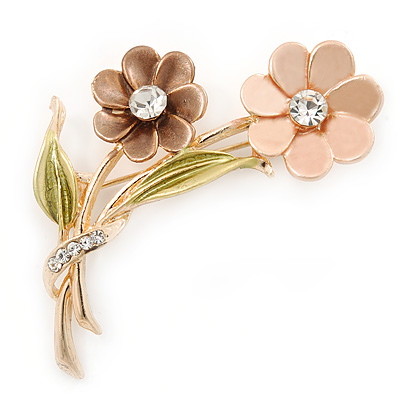 Magnolia/ Bronze/ Olive Two Daisy Floral Brooch - 50mm L - main view