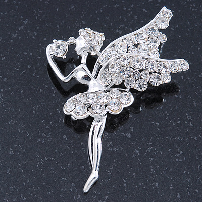Clear Crystal Fairy Brooch In Silver Tone - 55mm L