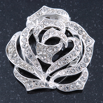 Diamante Rose Scarf Pin/ Brooch In Silver Tone - 38mm Across
