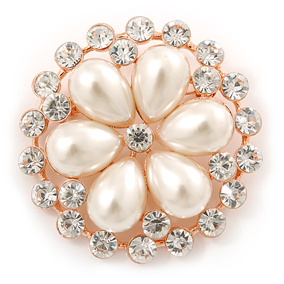 Bridal, Wedding, Prom Crystal, Pearl Flower Brooch In Rose Gold - 55mm Diameter