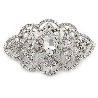 Bridal/ Wedding/ Prom Art Deco Clear Austrian Brooch In Rhodium Plating - 63mm L