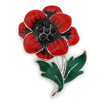 Red/ Black/ Green Enamel, Crystal Poppy Brooch In Silver Tone - 45mm L