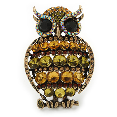 Large Vintage Inspired Crystal Owl Brooch/ Pendant In Bronze Tone (Olive, Citrine) - 63mm L