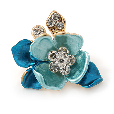 Small Teal/ Light Blue Crystal Flower Brooch In Gold Tone - 25mm