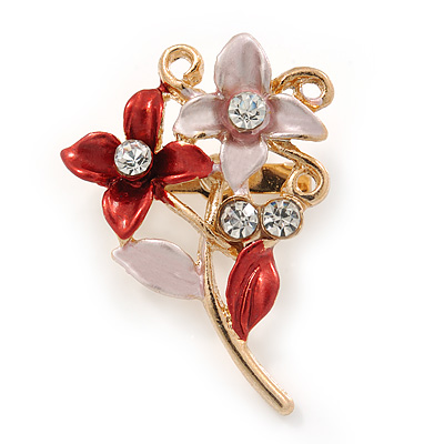 Small Pink/ Coral Double Flower Enamel, Crystal Pin Brooch In Gold Tone - 30mm L