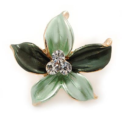 Small Mint/ Dark Green Enamel, Clear Crystal Flower Brooch In Gold Tone - 27mm