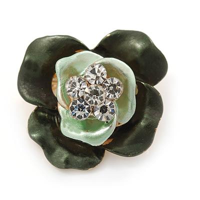 Dark Green/ Mint Green Enamel, Crystal Rose Pin Brooch In Gold Tone - 25mm