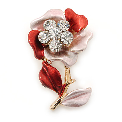 Pink/ Coral Enamel, Crystal Flower Brooch In Gold Tone - 30mm