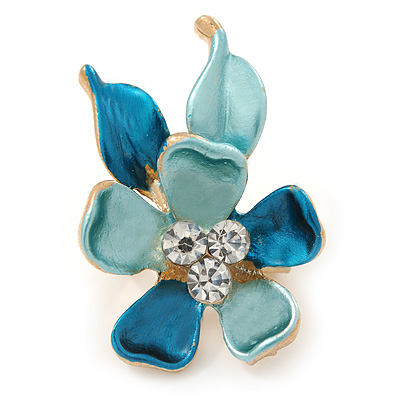 Small Light Blue/ Teal Enamel, Crystal Flower Brooch In Gold Tone - 30mm