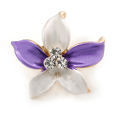 Small Purple/ Pale Lilac Enamel, Clear Crystal Flower Brooch In Gold Tone - 27mm