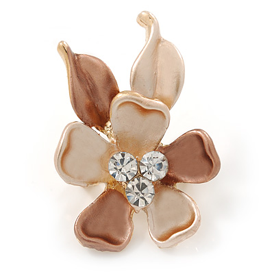 Small Bronze/ Magnolia Enamel, Crystal Flower Brooch In Gold Tone - 30mm