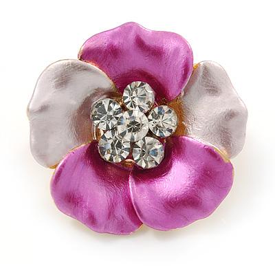 Small Pink/ Fuchsia Enamel, Crystal Daisy Pin Brooch In Gold Tone - 20mm