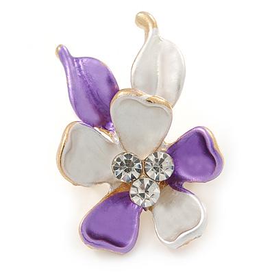 Small Purple/ Pale Lilac Enamel, Crystal Flower Brooch In Gold Tone - 30mm