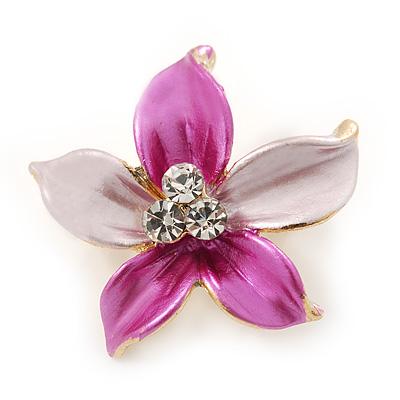 Small Fuchsia/ Pink Green Enamel, Clear Crystal Flower Brooch In Gold Tone - 27mm
