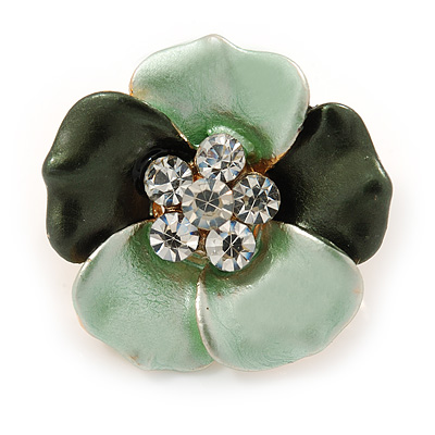 Small Dark Green/ Mint Green Enamel, Crystal Daisy Pin Brooch In Gold Tone - 20mm