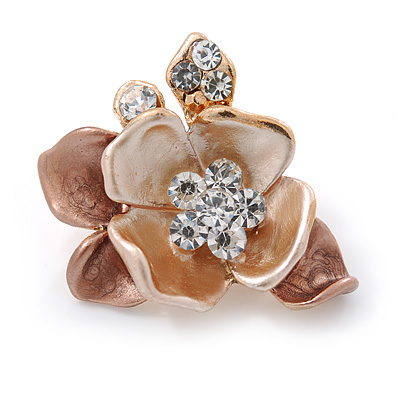 Small Bronze/ Magnolia Crystal Flower Brooch In Gold Tone - 25mm