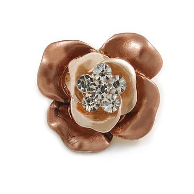 Magnolia/ Bronze Enamel, Crystal Rose Pin Brooch In Gold Tone - 25mm