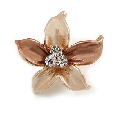 Small Magnolia/ Bronze Enamel, Clear Crystal Flower Brooch In Gold Tone - 27mm