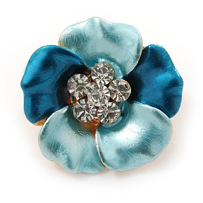 Small Blue Enamel, Crystal Daisy Pin Brooch In Gold Tone - 20mm