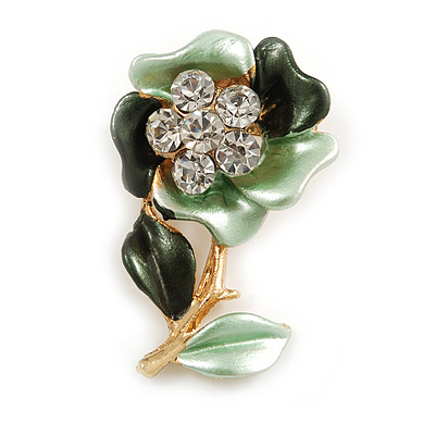 Mint/ Dark Green Enamel, Crystal Flower Brooch In Gold Tone - 30mm