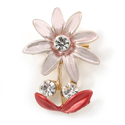 Pink/ Coral, Crystal Daisy Pin Brooch In Gold Tone - 30mm L