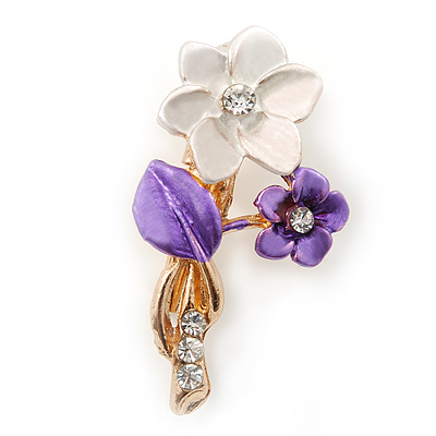 Purple Two Daisy Crystal Floral Brooch - 30mm L
