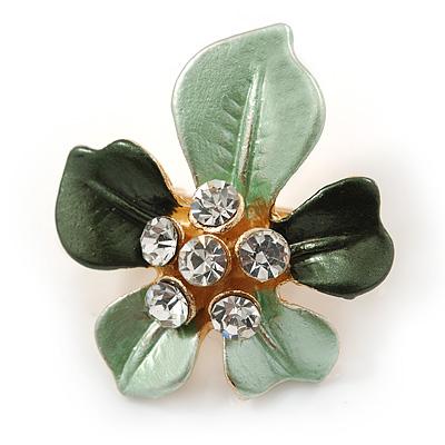 Dark Green/ Mint Green Enamel, Crystal Daisy Pin Brooch In Gold Tone - 30mm - main view