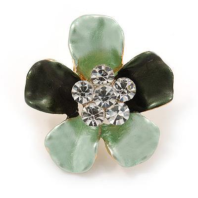 Mint/ Dark Green Enamel Clear Crystal Flower Brooch In Gold Tone - 20mm