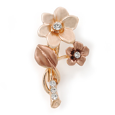Magnolia/ Bronze Two Daisy Crystal Floral Brooch - 30mm L