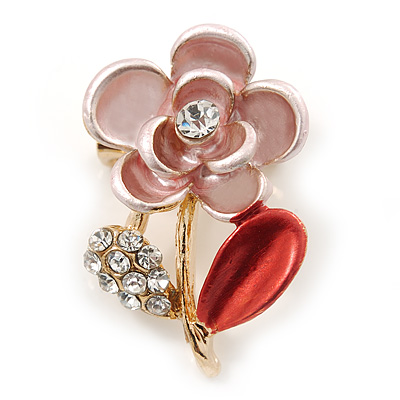 Coral/ Pink Enamel, Crystal Floral Pin Brooch In Gold Tone - 25mm L