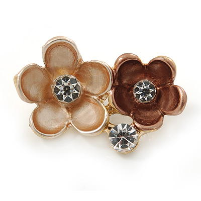 Small Magnolia/ Bronze Two Daisy Crystal Floral Brooch - 25mm L