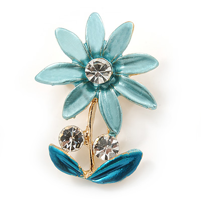 Light Blue/ Teal, Crystal Daisy Pin Brooch In Gold Tone - 30mm L