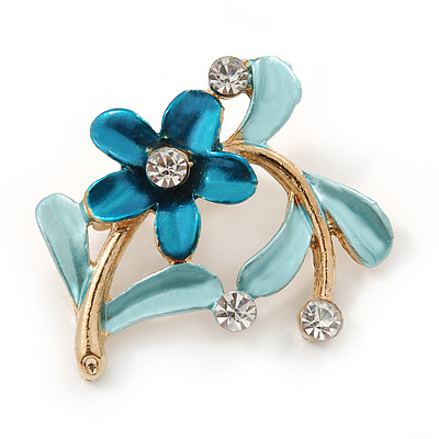 Blue/ Teal Daisy Crystal Floral Brooch - 35mm L
