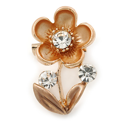 Bronze/ Magnolia Enamel, Crystal Floral Pin Brooch In Gold Tone - 25mm L
