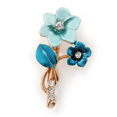 Blue/ Teal Two Daisy Crystal Floral Brooch - 30mm L
