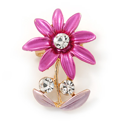 Fuchsia/ Pink, Crystal Daisy Pin Brooch In Gold Tone - 30mm L
