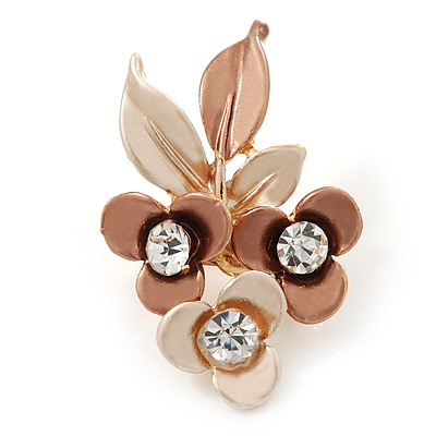 Bronze/ Magnolia Triple Flower Crystal Floral Brooch In Gold Tone Metal - 30mm L