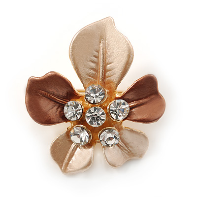 Magnolia/ Bronze Enamel, Crystal Daisy Pin Brooch In Gold Tone - 30mm