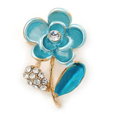 Light Blue Enamel, Crystal Floral Pin Brooch In Gold Tone - 25mm L
