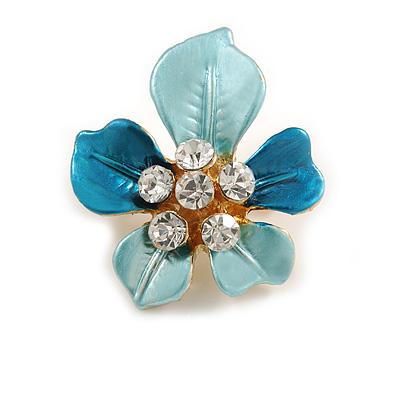 Light Blue Enamel, Crystal Daisy Pin Brooch In Gold Tone - 30mm