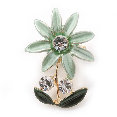 Mint/ Dark Green, Crystal Daisy Pin Brooch In Gold Tone - 30mm L